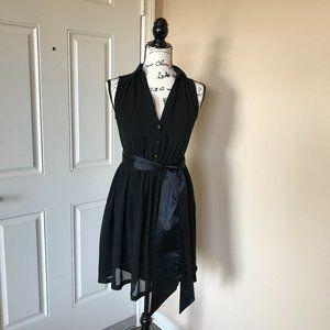 H&M Black Sleeveless Sheer Button Front Dress